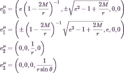 \begin{align*} e_{\hat 0}^\mu &= \left(e\Schw^{-1},\pm\eroot,0,0\right) \\ e_{\hat 1}^\mu &= \left(\pm\Schw^{-1}\eroot,e,0,0\right) \\ e_{\hat 2}^\mu &= \left(0,0,\frac{1}{r},0\right) \\ e_{\hat 3}^\mu &= \left(0,0,0,\frac{1}{r\sin\theta}\right) \end{align*}