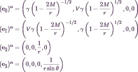 \begin{align*} (\evec{0})^\alpha &= \left(\gamma\Schw^{-1/2},V\gamma\Schw^{1/2},0,0\right) \\ (\evec{1})^\alpha &= \left(V\gamma\Schw^{-1/2},\gamma\Schw^{1/2},0,0\right) \\ (\evec{2})^\alpha &= \left(0,0,\frac{1}{r},0\right) \\ (\evec{3})^\alpha &= \left(0,0,0,\frac{1}{r\sin\theta}\right) \end{align*}
